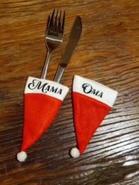 Kerstmutsjes klein bestek