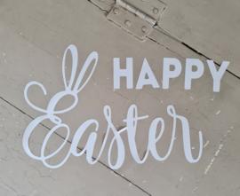 Raamsticker statische raamfolie  tekst Happy Easter herbruikbaar.