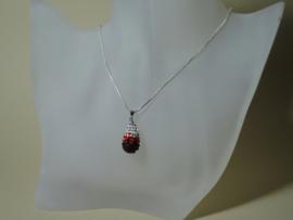 Zilver 925 ketting hanger met Zirkonia stenen in rood bordeaux helder