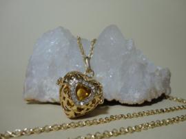 Engelenroeper in hartvorm met Zirconia klankbol en ketting