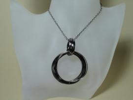 Lange metaal ketting met 15 grote ringen smoke en 7 kleine ringen