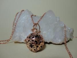 Engelenroeper met ketting en klankbol rosé gold