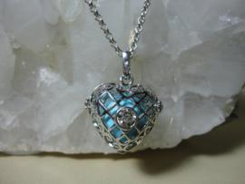 Engelenroeper hartvorm met turquoise klankbol en zirkonia plus lange ketting