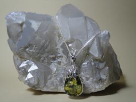 Amber hanger groene Amber met ketting 925 Zilver