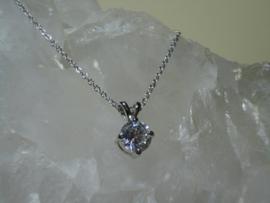 Ketting Whitegold Filled met hanger bezet met Bergkristal
