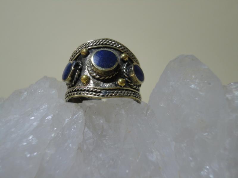Ring Tibetaans zilver Lapis Lazuli met mooie pyriet