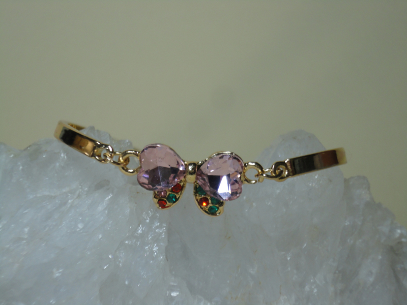 Gold filled armband met kristallen strikje in roze