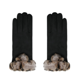 Handschoenen zwart met gevlekt bontje