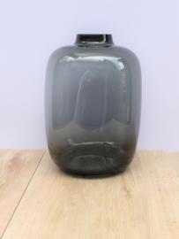 Zwarte vaas rosa groot