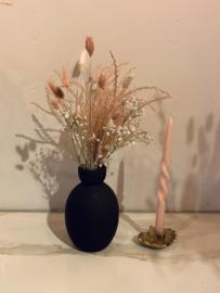 Droogbloemen + vaas zwart