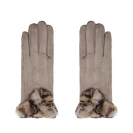 Handschoenen Beige met gevlekt bontje