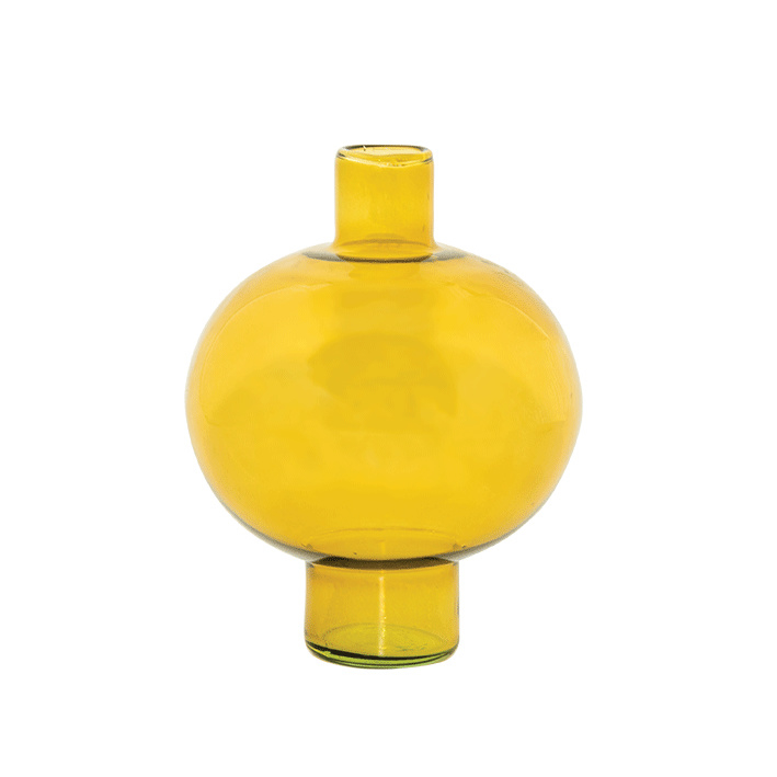 URBAN NATURE CULTURE VASE RECYCLED GLASS ROUND AMBER GREEN