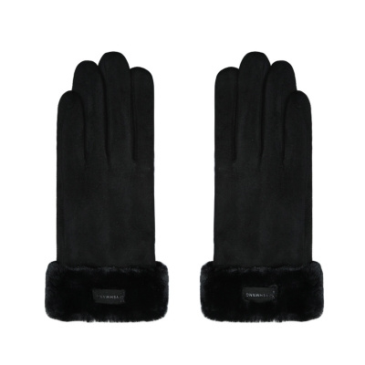 Handschoenen zwart met een leertje