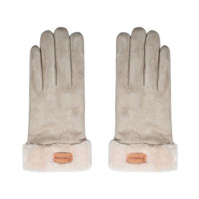 Handschoenen beige met een leertje