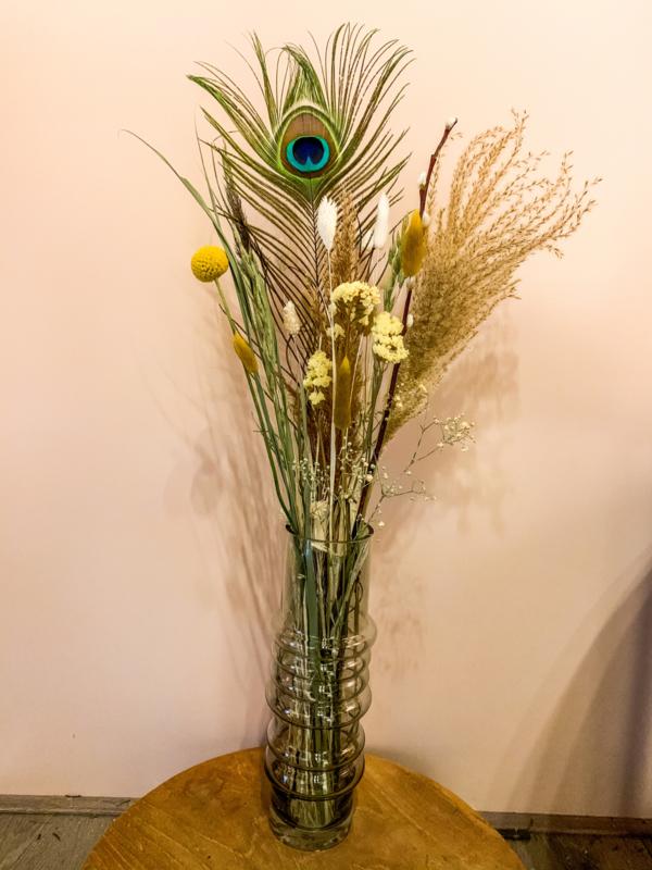 Droogbloemen + vaas groen-naturel