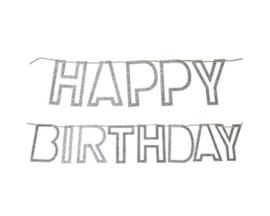 Happy Birthday slinger open letters Zilver