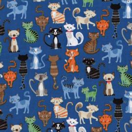 Crafty Cats poezen blauwe achtergrond