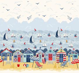 rand strand met strandhuisjes