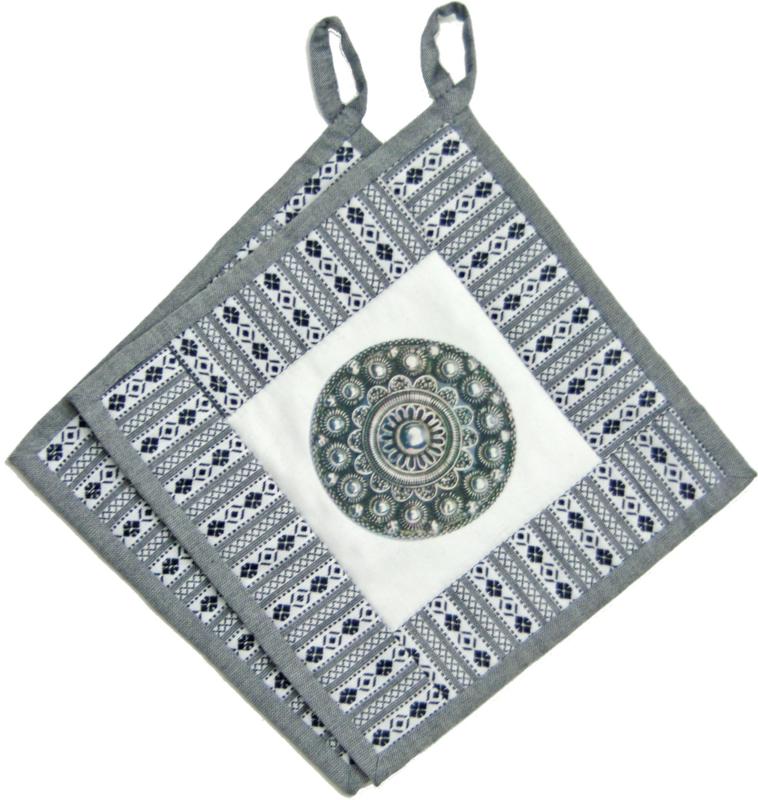 Pannenlappen Zeeuwse knoop - diamant bloem stof