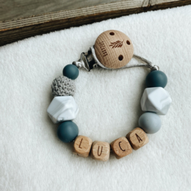 Pacifier clip with name ´Black, Marble and Grey´
