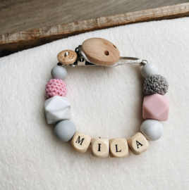 Pacifier clip with name ´Pink, Marble and Grey´