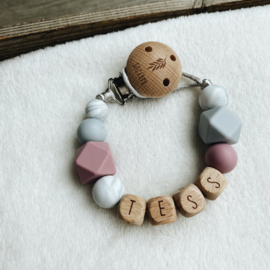 Pacifier clip with  name ´Old Pink, Marble and Grey´