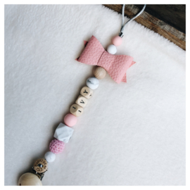 Pacifier clip with name and bow