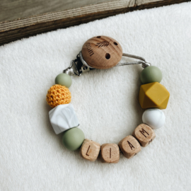 Pacifier clip with name ´Green, Ochre Yellow and Marble´