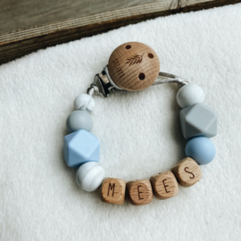 Pacifier clip with name ´Soft Blue, Marble and Grey´