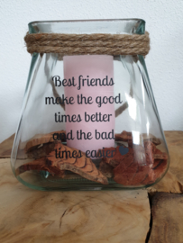 Windlicht met jute touw: Best Friends