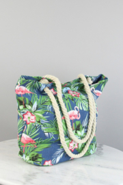 "Strandtas/Shopper ""Flamingo"" blauw"