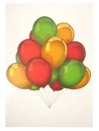 Raamsticker tros ballonnen rood/geel/groen