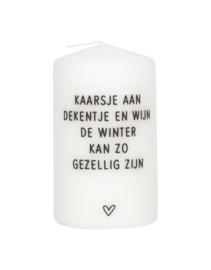 Kaars met tekst 'Kaarsje aan, dekentje met wijn' (Zoedt)
