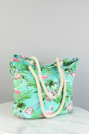 "Strandtas/Shopper ""Flamingo"" Mint"