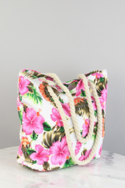 "Strandtas/Shopper ""Flowers"" wit"