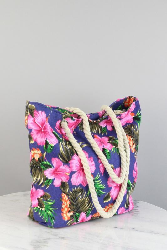 "Strandtas/Shopper ""Flowers"" donkerblauw"