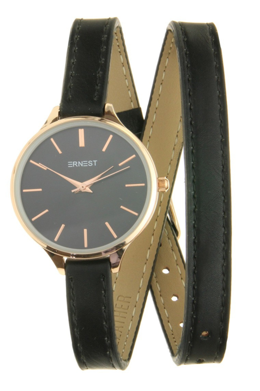 "Ernest horloge ""Rouna"" zwart"