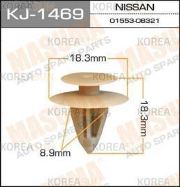 Bevestigingsclip Beige achterdeurpaneel Nissan 01553-08321