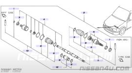 Aandrijfashoesset wielzijde Nissan Micra K11 39241-4F425