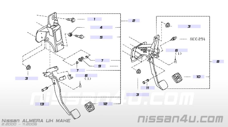 Koppelingspedaal Nissan Almera N16 46503