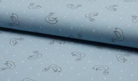 Gewassen Katoen - Swan Dusty Blue