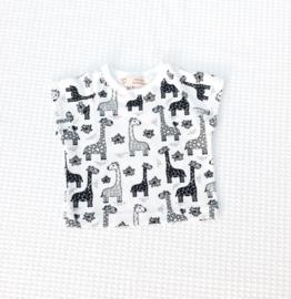 T-shirt Giraffen Wit/Zwart