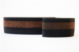Elastisch Tailleband - Zwart met Koperen Lijnen