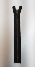 YKK 18cm broek rits zwart brons metaal