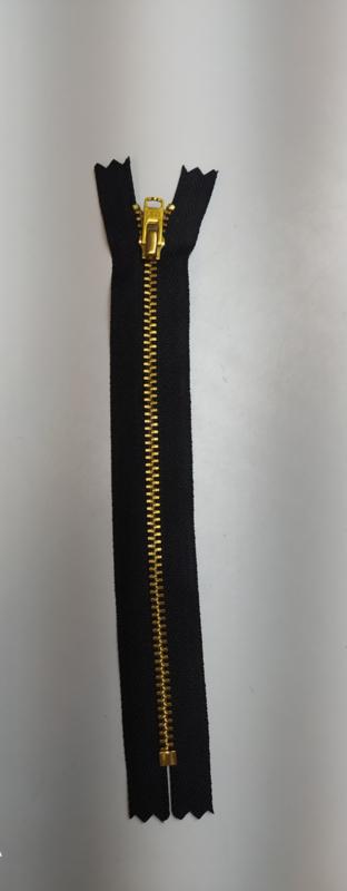 YKK 18cm broek rits zwart goud metaal