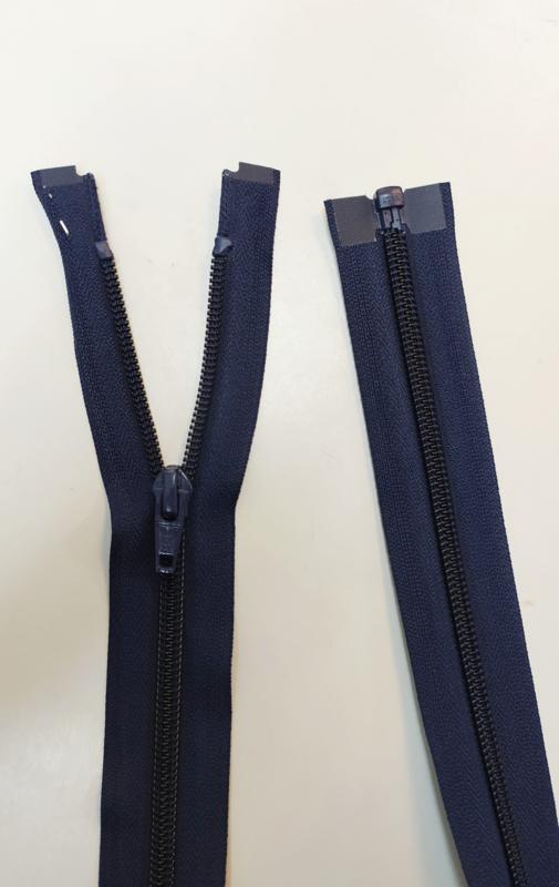 YKK 80cm jas rits blauw spiraal/nylon deelbaar