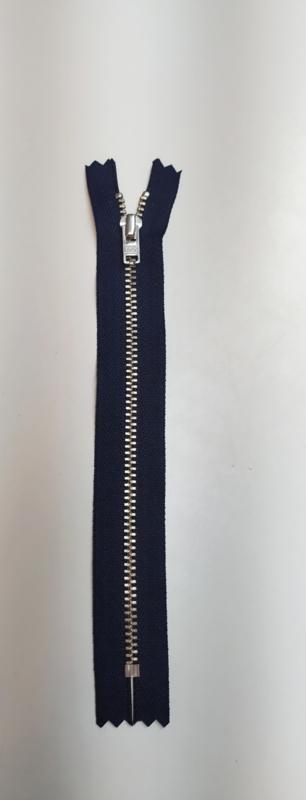 YKK 18cm broek rits blauw zilver metaal