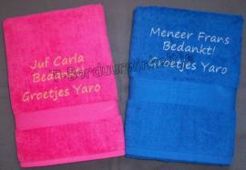 Handdoek Juf/Meester (70X140) geborduurd met naam