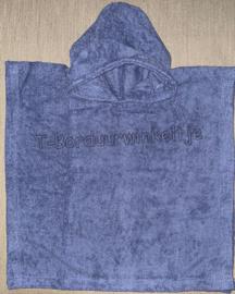 Poncho Silk Blue geborduurd met naam