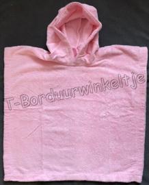 Poncho Roze geborduurd met naam